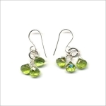 Nice  Beaded Earrings Made with Facetted Green Stone and Silver