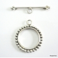 C0001- Clasp,toggle,oxidised,sterling silver,20 mm double sided round