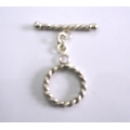 C0002-Clasp,toggle,oxidised,sterling silver,25 mm double sided round,twisted wire