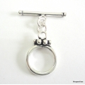 C0007-Clasp,toggle,oxidized,sterling silver,12 mm double sided round