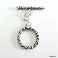 C0008-Clasp,toggle,oxidized,sterling silver,12 mm double sided round twisted wire