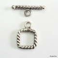 C0013-Clasp,toggle,oxidized,sterling silver, 10mm Square Shape