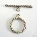 C0014-Clasp,toggle,oxidized,sterling silver, 16mm double sided round,twisted wire
