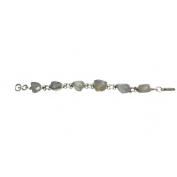 Designer Sterling Silver Bracelet setted with Faceted Rainbow Moon Stone