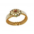 B0025- Kundan Ruby Pearl GOLD PLATED Flower Motif Openable Kada
