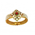 B0026-Ruby Kundan with Pearl Work Gold Plated Openable Kada