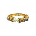 B0031- ethnic kada with mahroon stones and big pearls