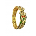B0032-Red & Green kundan with Meenakari Work kada