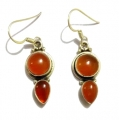 Earring0004-Nice Earring made with Beautiful Carnelian Stone and Silver