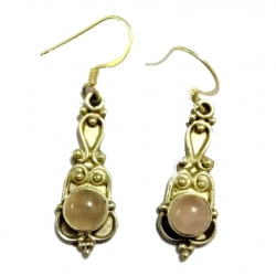 Earring0005-Nice Earring made with Beautiful Rose Quartz Stone and Silver