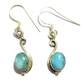 Earring0010-Nice Earring made with Beautiful Turquoise Stone and Silver
