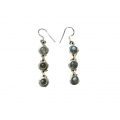 Earring0016-Nice Earring made with Beautiful Black Rainbow Stone and Silver