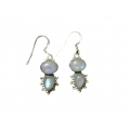 Earring0017-Nice Earring made with Beautiful Rainbow Stone and Silver