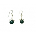 Earring0020-Nice Earring made with Beautiful Malachite Stone and Silver