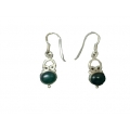 Earring0024-Nice Earring made with Beautiful Malachite Stone and Silver