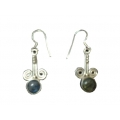 Earring0026-Nice Earring made with Beautiful Black Rainbow Stone and Silver