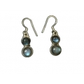 Earring0039-Nice Earring made with Beautiful Black Rainbow Stone and Silver