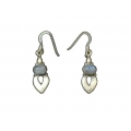 Earring0041-Nice Earring made with Beautiful White Rainbow Moon Stone and Silver