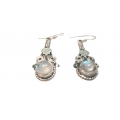 E0059-Nice Earring made with Beautiful Rainbow Moon Stone and Silver