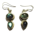 E0062-Nice Earring made with Beautiful Black Rainbow Moon Stone and Silver