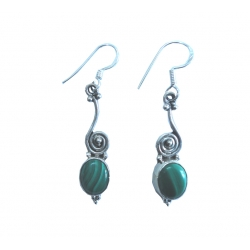 E0072-Nice Earring made with Beautiful Malakite Stone and Sterling Silver