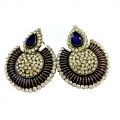 Meenakari In Purple Colour With Full Of Pearls Beautifull Earring