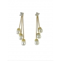 E0084-Beautiful Hanging Gold Plated Pearl Earrings
