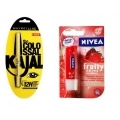 Maybelline Colossal Kajal and Nivea Women Fruity Shine Strawberry Lip Balm COMBO