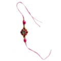 ShoppersCave Raksha Bhandan knots Fancy Rakhies With Roli Chawal-Sleek And Trendy Stone Motif Rakhi In Pink