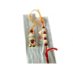 ShoppersCave Raksha Bhandan knots Fancy Rakhies With Roli Chawal-Moti Rakhi With Red Beads For Bhaiya And Bhabhi