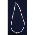 Beaded Pearl Neclace with blue and red stones