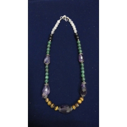 Necklace with green zade, tiger eye, big amethyst tumbles and silver caps
