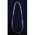 Necklace of faceted amethyst and rose quartz
