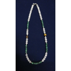 Necklace made of green onyx, rose quartz ,tiger eye and sterling silver beads