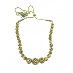 Fancy golden bead necklace studedd with green stones
