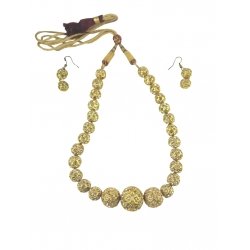Fancy golden bead Necklace and Earring Set studedd with white stones