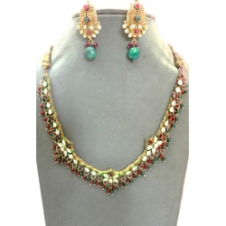N0021-Beautiful Kundan Meena  Necklace