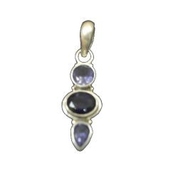 Artistic Sliver Plated Pendant With Iolite Stone