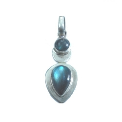 Nice Pendant made with Beautiful Black Rainbow Moon Stone and Sterling Silver