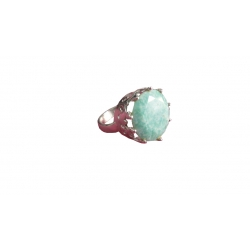 R0022-Nice Ring with Touqoise Stone and Sterling Silver