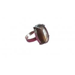 R0027-Nice Ring with Smoky Topaz Stone and Sterling Silver