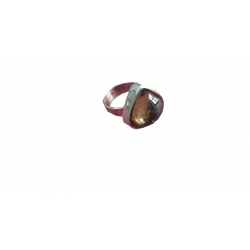 R0034-Nice Ring with Smoky Topaz Stone and Sterling Silver