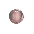 R0105-Nice Ring with Rose Quartz Stone and Sterling Silver