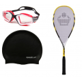 Speedo Swimming Goggles , Speedo Swimming Slicone Cap, Cosco Power Beam Tennis Racquet COMBO