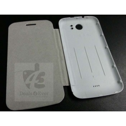BATTERY COVER FLIP BOOK CASE WITH SCREEN GUARD FOR MICROMAX A110 A 110 CANVAS 2