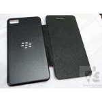 Black Blackberry Z10 Premium Quality Leather Flip battery Back Cover Case pouch