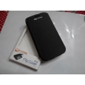 Black Caller ID Book Cover Flip Case Pouch for Micromax A116 Superfone Canvas 2