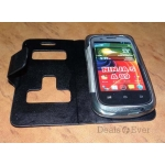 Micromax Ninja 5 A89 A 89 Black Faux Leather Caller ID Flip Case Cover Pouch