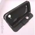 Black Caller ID Book Flip Case table top Cover Pouch for Micromax A68 A-68 A 68