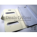 White Faux Leather Caller ID Flip Case Cover diary folio Pouch for iPhone 4 4GS